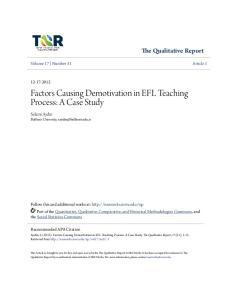 Factors Causing Demotivation in EFL Teaching Process: A Case Study