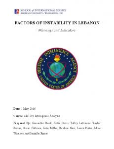 FACTORS OF INSTABILITY IN LEBANON