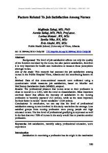 Factors Related To Job Satisfaction Among Nurses