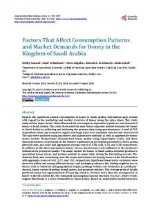 Factors That Affect Consumption Patterns and Market Demands for Honey in the Kingdom of Saudi Arabia