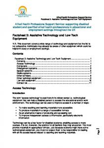 Factsheet 3: Assistive Technology and Low Tech