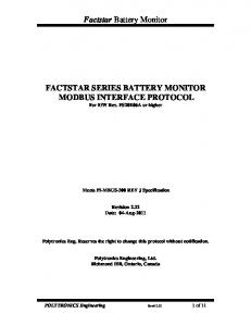 FACTSTAR SERIES BATTERY MONITOR MODBUS INTERFACE PROTOCOL