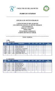 FACULTAD DE BELLAS ARTES PLANES DE ESTUDIOS ESCUELA DE ARTES VISUALES