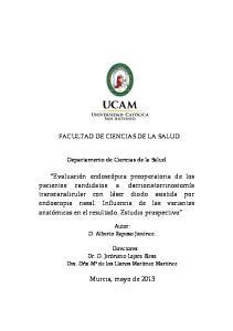 FACULTAD DE CIENCIAS DE LA SALUD. Departamento de Ciencias de la Salud