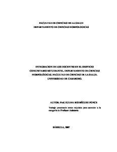 FACULTAD DE CIENCIAS DE LA SALUD DEPARTAMENTO DE CIENCIAS MORFOLOGICAS