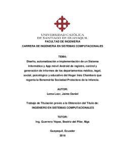 FACULTAD DE INGENIERIA CARRERA DE INGENIERIA EN SISTEMAS COMPUTACIONALES