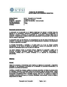 FACULTAD DE INGENIERIA DEPARTAMENTO DE INGENIERIA INDUSTRIAL