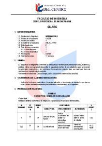 FACULTAD DE INGENIERIA ESCUELA PROFESIONAL DE INGENIERIA CIVIL SILABO