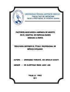 FACULTAD DE MEDICINA ESCUELA PROFESIONAL DE MEDICINA HUMANA
