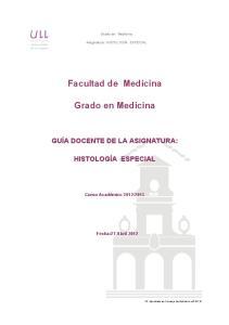Facultad de Medicina. Grado en Medicina