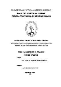 FACULTAD DE MEDICINA HUMANA ESCUELA PROFESIONAL DE MEDICINA HUMANA