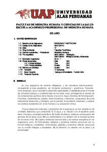 FACULTAD DE MEDICINA HUMANA Y CIENCIAS DE LA SALUD ESCUELA ACADEMICO PROFESIONAL DE MEDICINA HUMANA SILABO