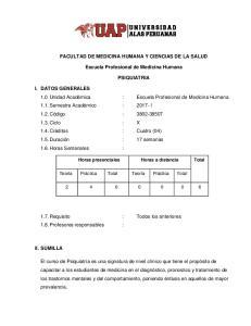 FACULTAD DE MEDICINA HUMANA Y CIENCIAS DE LA SALUD. Escuela Profesional de Medicina Humana PSIQUIATRIA