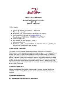 FACULTAD DE MEDICINA MED902 (GINECO OBSTETRICIA I) MARZO - JUNIO 2014