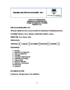 FACULTAD PSICOLOGIA PROGRAMA DE PSICOLOGIA CURSO DE ESPECIAL INTERÉS BOGOTÁ D.C. TÍTULO: DISEÑO DE UNA CAPACITACIÓN EN LIDERAZGO TRANSFORMACIONAL
