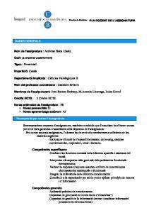 Facultat de Medicina PLA DOCENT DE L ASSIGNATURA