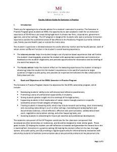 Faculty Advisor Guide for Semester in Practice