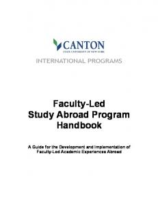 Faculty-Led Study Abroad Program Handbook. A Guide for the Development and Implementation of Faculty-Led Academic Experiences Abroad