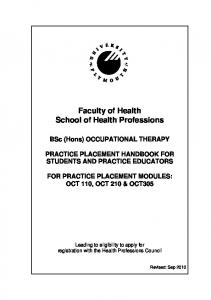 Faculty of Health School of Health Professions