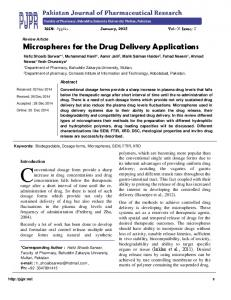 Faculty of Pharmacy, Bahuddin Zakaryia University Multan, Pakistan. Review Article Microspheres for the Drug Delivery Applications