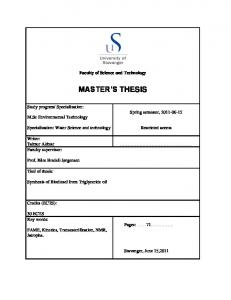 Faculty of Science and Technology MASTER S THESIS