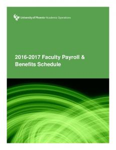 Faculty Payroll & Benefits Schedule