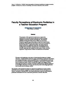 Faculty Perceptions of Electronic Portfolios in a Teacher Education Program