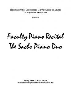 Faculty Piano Recital The Sachs Piano Duo