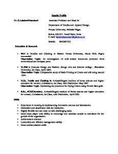 Faculty Profile. Periyar University, Palkalai Nagar, Mobile: