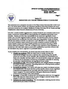 FACULTY PROMOTION AND TENURE DOSSIER FORMAT GUIDELINES
