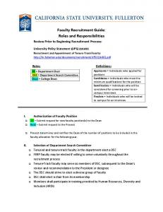 Faculty Recruitment Guide: Roles and Responsibilities