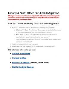 Faculty & Staff: Office 365  Migration