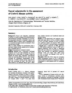 Faecal calprotectin in the assessment of Crohn s disease activity