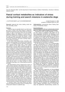 Faecal cortisol metabolites as indicators of stress during training and search missions in avalanche dogs