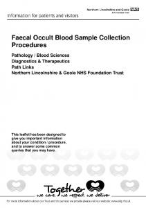 Faecal Occult Blood Sample Collection Procedures