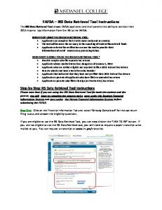 FAFSA IRS Data Retrieval Tool Instructions