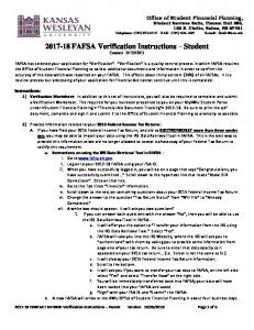 FAFSA Verification Instructions Student Contact: IVFININD