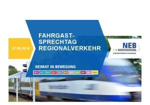 FAHRGASTSPRECHTAG REGIONALVERKEHR