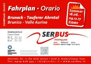 Fahrplan Orario. Bruneck - Tauferer Ahrntal Brunico - Valle Aurina. Sommer Estate FAHRPLAN ORARIO. Kundenzentrum Centro Clienti