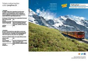 Fahrplan Timetable. Tickets online kaufen unter jungfrau.ch. 9. Dezember Dezember 2013