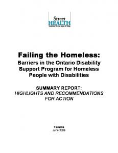 Failing the Homeless: Barriers in the Ontario Disability Support Program for Homeless People with Disabilities