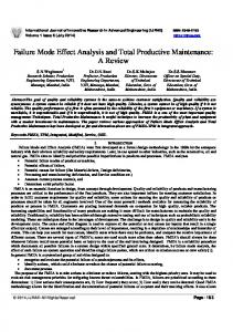Failure Mode Effect Analysis and Total Productive Maintenance: A Review