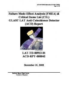 Failure Mode Effect Analysis (FMEA) & Critical Items List (CIL) GLAST LAT Anti-Coincidence Detector (ACD) Report