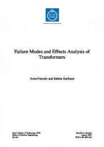 Failure Modes and Effects Analysis of Transformers