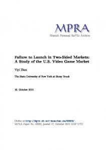 Failure to Launch in Two-Sided Markets: A Study of the U.S. Video Game Market