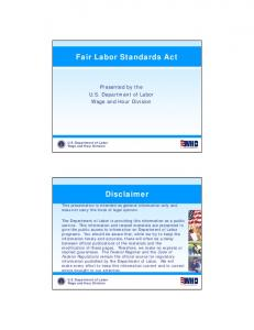Fair Labor Standards Act. Disclaimer