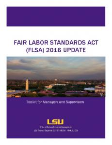 FAIR LABOR STANDARDS ACT (FLSA) 2016 UPDATE