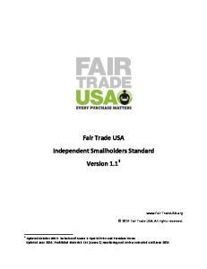 Fair Trade USA Independent Smallholders Standard Version 1.1 1