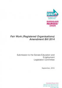 Fair Work (Registered Organisations) Amendment Bill Submission to the Senate Education and Employment Legislation Committee