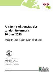 FairStyria-Aktionstag des Landes Steiermark 26. Juni 2013